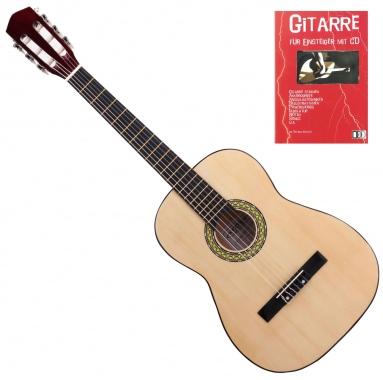 Classic Cantabile Acoustic Series AS-851-L Klassikgitarre 7/8 für Linkshänder + Gitarre für Einsteiger mit CD