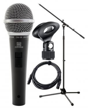 Pronomic DM-58 micrófono vocal con interruptor set incl. Soportre micro + pinzas de mirco + cable