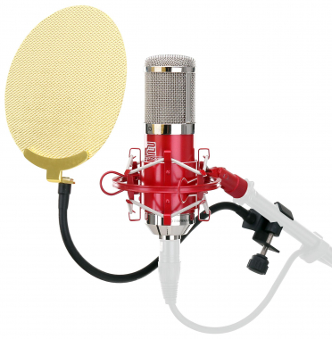 Pronomic CM-100R studio condensor microphone, red, SET incl. gold pop filter