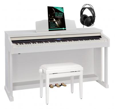 Roland HP601-WH Digital Piano Weiß matt Set inkl. Pianobank, Kopfhörer & Schule