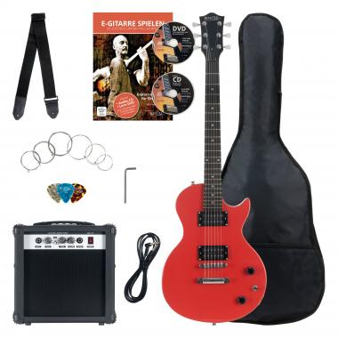Rocktile Banger's Pack Single Cut Electric Guitar Set, 7-Piece Red