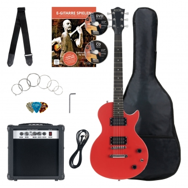 Rocktile Banger's Pack Single Cut guitarra electronica Set, 7-piezas rojo