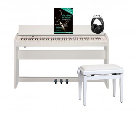 Roland F-140R-WH Digitalpiano Weiß Matt SET inkl. Pianobank, Kopfhörer und Schule