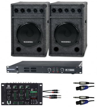 Pronomic DJ Party Set II complete set 2x Festival 15 speaker, 1x mixer, power amplifier, cable