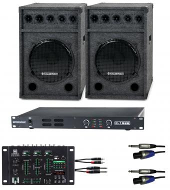 Pronomic DJ-Party Set II Komplettset 2x Festival 15 Box, 1x Mixer, Endstufe, Kabel