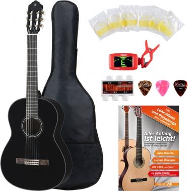 Yamaha C40 BL Guitarra clásica color negro  (Incluidos funda, afinador y cuerdas)