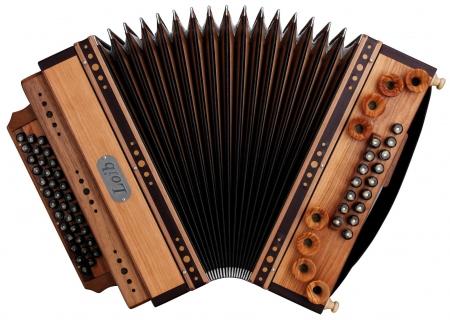 Loib Harmonika IVD Kirsche/Nuss G-C-F-B Helikonbass X-Bass Holzverdeck