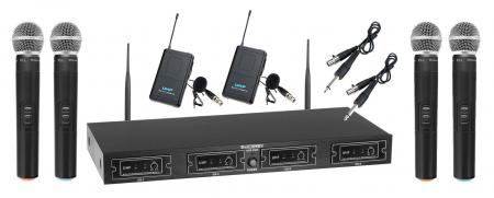 McGrey UHF-4V2I Quad Wireless Microphone Set with 4 handheld transmitters and 2 bodypacks