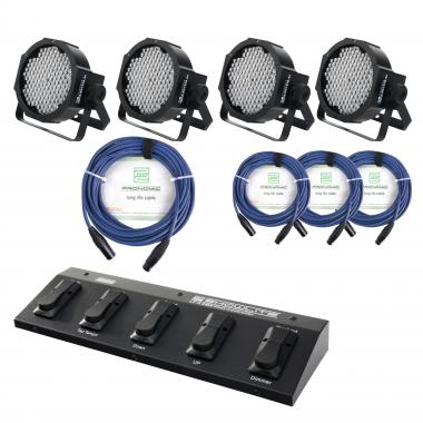 Showlite FLP-144 set de 4 x + controlador pie (FootController) + cable, 4 focos