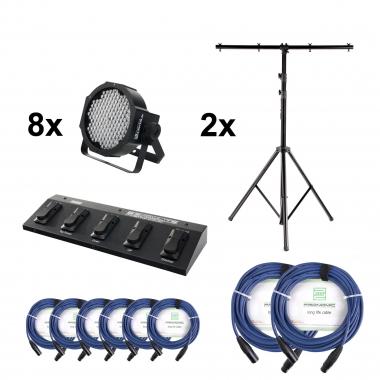Showlite FLP-144 8xSet + Contrôle Pédale + Pied + Câble + Pied, 8 Projecteurs