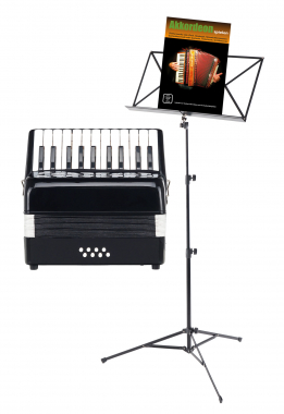 Classic Cantabile Secondo 8-bass kid's accordion black SET incl. Music stand