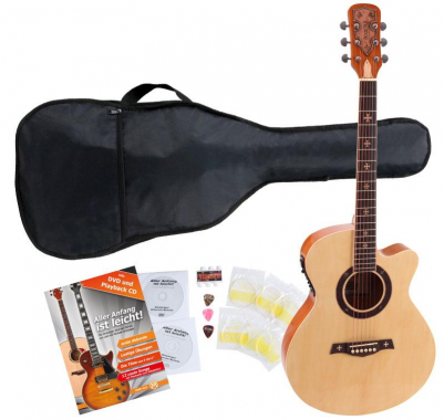 Rocktile Empire Acoustic Guitar With Pickups Stater SET incl. 5-piece accessory set Natural
