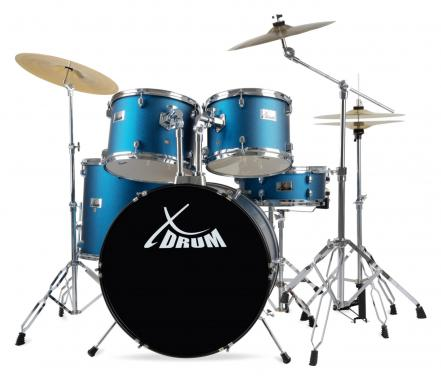 "XDrum Semi 22"" batterie standard Satin Blue Sparkle Set incl. pied cymbale + cymbales crash"