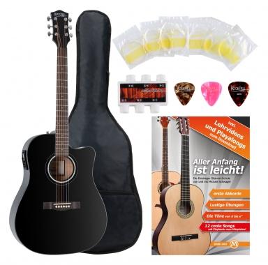 Rocktile D-60CE acoustic guitar black, SET including accessories