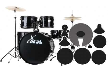 XDrum Rookie 22 Fusion batterie noire plus set de sourdines