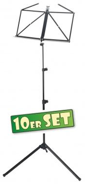 10er SET McGrey 100/2 B Notenständer schwarz, mit Tasche