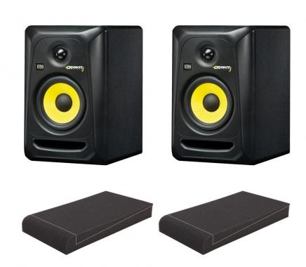 "KRK ROKIT RP5 G3 Studio Monitor SET mit Pronomic ISO-Stand 5"" Absorberplatten"