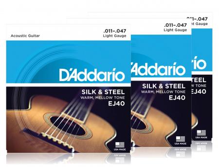 D'Addario EJ40 Silk & Steel - 3er Pack