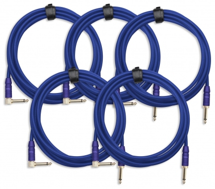 5-Piece SET Pronomic Trendline INST-3B Instrument Cable 3m blue