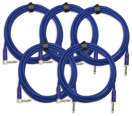 set van 5 Pronomic Trendline INST-3B instrumentenkabel 3m blauw