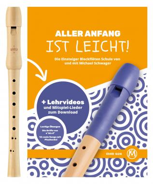 """Moeck Schulflöte 1210 Sopran barock+ Schule Set mit """"Aller Anfang ist leicht"""""""
