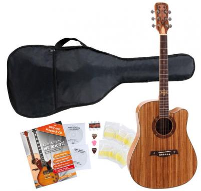 Rocktile Empire Acoustic Guitar With Pickups Stater SET incl. 5-piece accessory set Zebrano