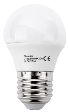 Showlite LED Birne G45E27W05K30N 5 Watt, 300 Lumen, Sockel E27, 3000 Kelvin