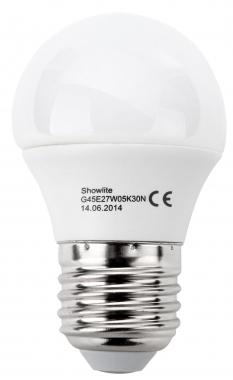 Showlite LED bulb G45E27W05K30N 5 Watts, 300 Lumens, E27 socket, 3000 Kelvin