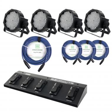 Showlite FLP-144 Floodlight 4-piece SET incl. Foot Controller and Cable