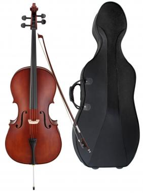 Classic Cantabile Student Comfort Cello Set 3/4 incl. Bow and Cello Case with Wheels