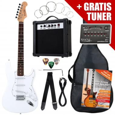 Rocktile ST Pack Electric Guitar Set, White, incl. amp, bag, tuner, cable, strap, strings