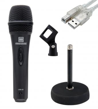 Pronomic USB-20 microphone USB SET incl. rond trépied de table