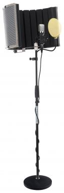 Pronomic CM-22 large diaphragm microphone set incl. stand, gold pop screen, mic screen & cable