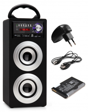 Beatfoxx Beachside altavoz Bluetooth portable USB, SD, AUX, FM plata SET incl. Akku + fuente alimen