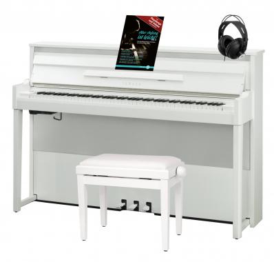 Yamaha NU1XPBW Hybrid Piano Weiß Hochglanz Set inkl. Pianobank, Kopfhörer & Schule