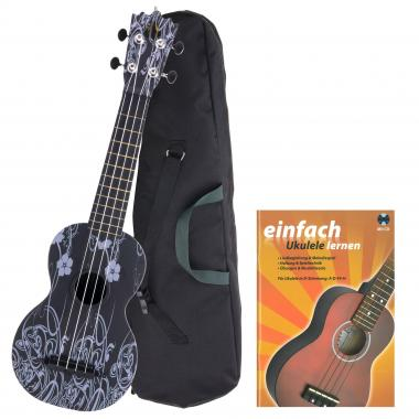 Classic Cantabile Beachbuddy Black Beauty Ukulele Set inkl. Schule