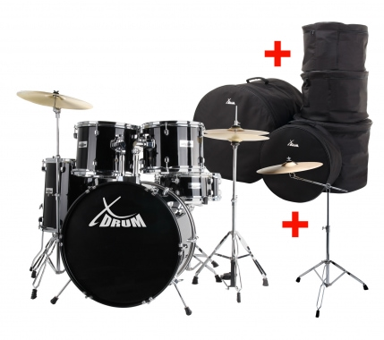 "XDrum Semi 22"" Standard Drumset Midnight Black SET incl. Boom Stand + Crash Cymbals and Drum Bags"
