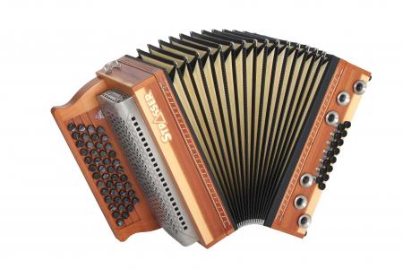 Strasser 4/III Hoamat Harmonika G-C-F-B mit X-Bass, Wacholder
