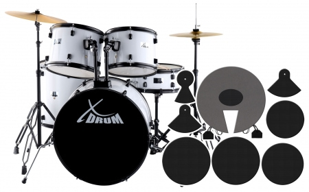 "XDrum Rookie 22"" Standard batería White plus set de atenuador"