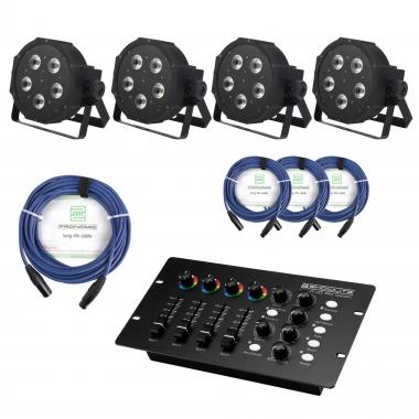 Showlite FLP-5x8W Floodlight 4-piece SET incl. DMX Controller and Cable