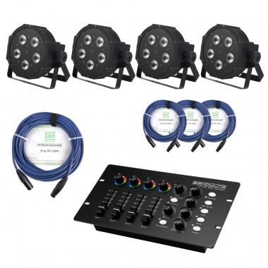 Showlite FLP-5x8W projecteur 4 x set, y compris le contrôleur DMX + câble