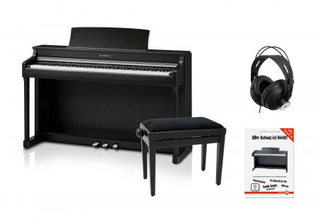 Kawai CN-35 SB Digitalpiano schwarz matt SET mit Pianobank, Kopfhörer und Schule