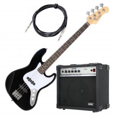 Rocktile Fatboy II E-Basset, zwart, incl. Soundking Basversterker en kabel