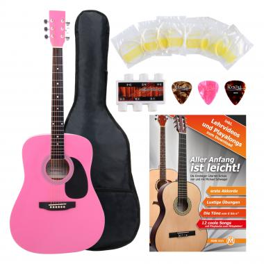 Classic Cantabile Acoustic Guitar Starter-SET incl. 5-piece accessory set, pink