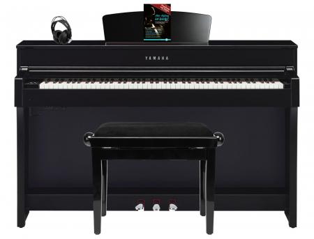 Yamaha CLP-635 PE Digitalpiano schwarz hochgl. SET mit Kopfhörer, Bank, Schule
