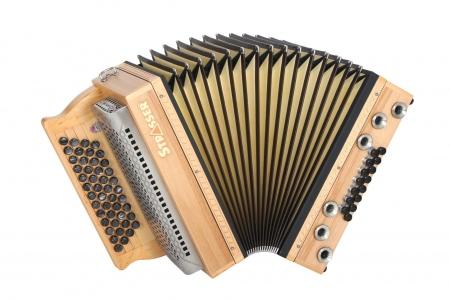 Strasser 4/III Hoamat Harmonika G-C-F-B mit X-Bass, Kernbuche