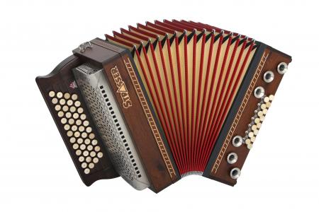 Strasser 4/III Hoamat Harmonika G-C-F-B mit X-Bass, Ast Eiche