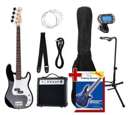 Rocktile Groover Paquet PB Basse Électrique Set Sunburst  + Accordeur à Clipser + Stands de Guitare