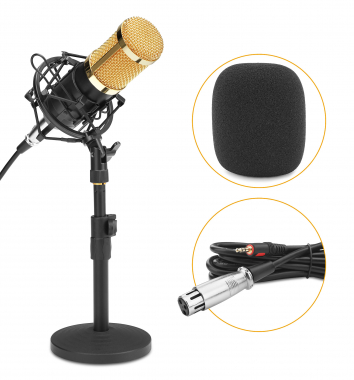 McGrey CM-80B condensateur podcast set avec microphone et statif de table