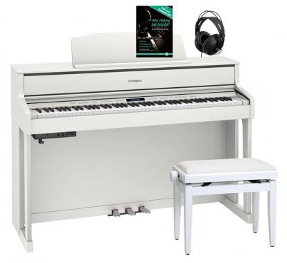 Roland HP605-WH Digitalpiano Weiß SET inkl. Pianobank, Kopfhörer und Schule
